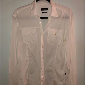 Hugo Boss white long sleeve button up